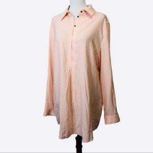 Tyler Boe peach pink silk long sleeve top